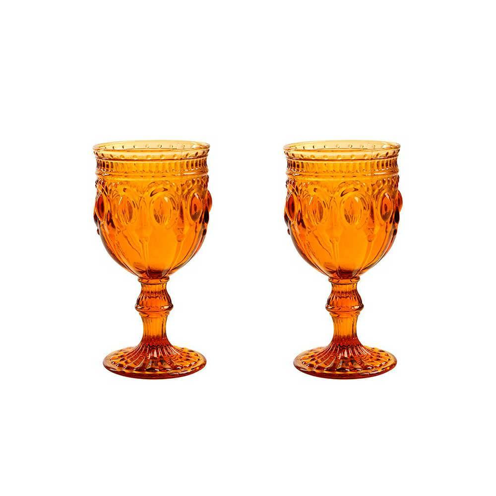 Conjunto 2 Taças para Vinho Jewelry Âmbar - 250 ml - em Vidro - 16x9cm