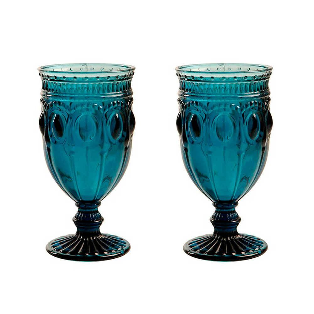 Conjunto 2 Taças para Vinho Jewelry Azuis - 350 ml - em Vidro - 17x9 cm
