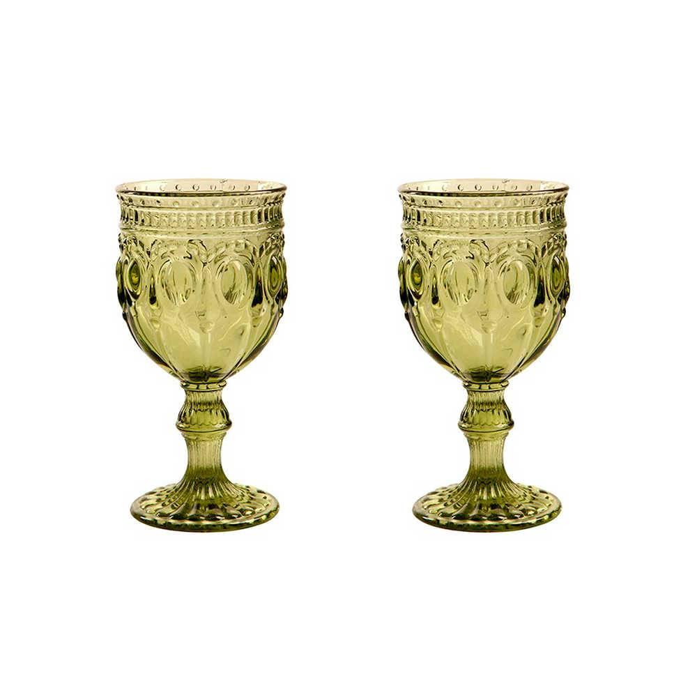 Conjunto 2 Taças para Vinho Jewelry Verde - 250 ml - em Vidro - 16x9cm