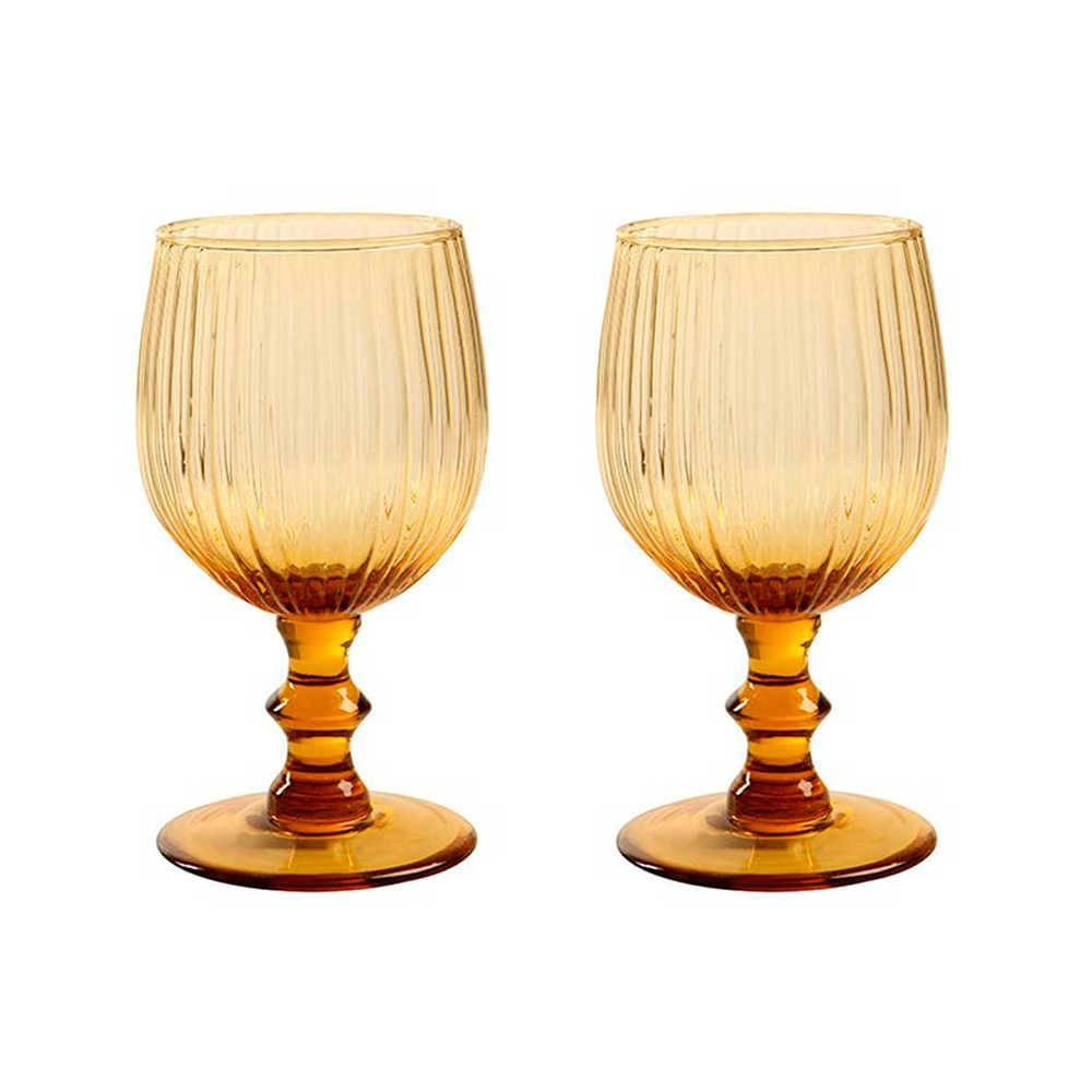 Conjunto 2 Taças para Vinho Kiwi Âmbar - 300 ml - em Vidro - 15x7cm