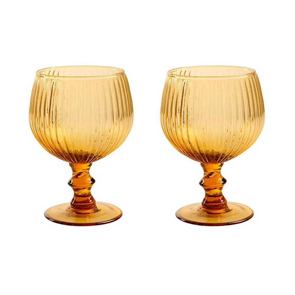Conjunto 2 Taças para Vinho Kiwi Âmbar - 450 ml - em Vidro - 15x9cm