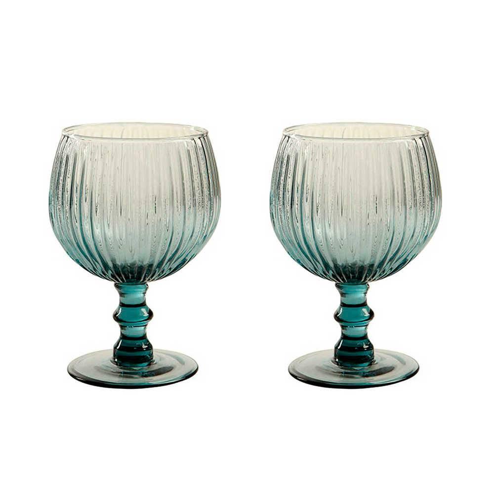 Conjunto 2 Taças para Vinho Kiwi Azul - 450 ml - em Vidro - 15x9cm