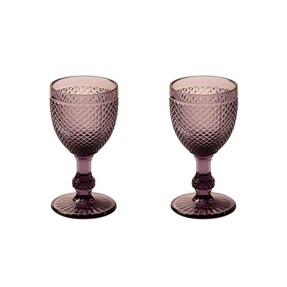 Conjunto 2 Taças para Vinho Tinto Bico de Jaca Roxas em Vidro - 16x8 cm