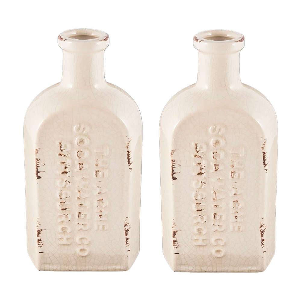 Conjunto 2 Vasos Botella Branco Acabamento Desgastado em Cerâmica - 23x11,5 cm