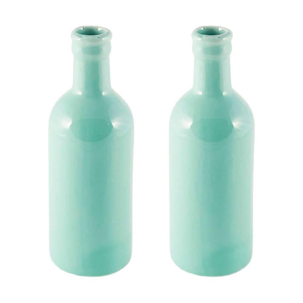 Conjunto 2 Vasos Decorativos Botella Pop Verde em Cerâmica - 21x7 cm