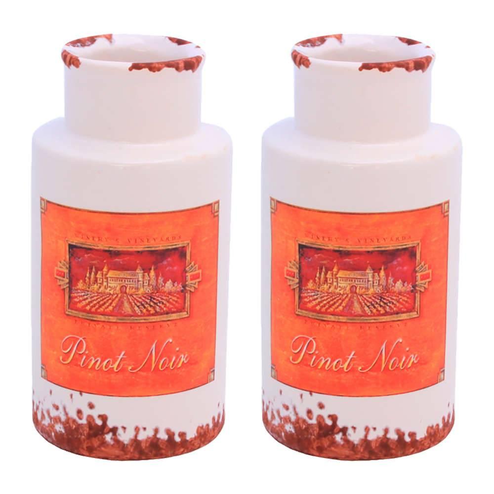 Conjunto 2 Vasos Decorativos Kanpur Branco em Cerâmica - 16,5x8 cm