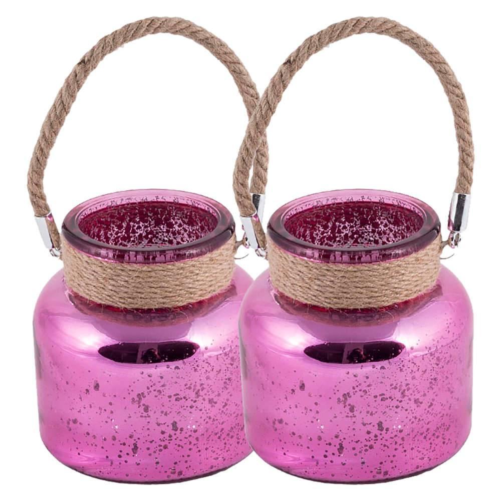Conjunto 2 Vasos Gradient Rosa Médio em Vidro com Alça - 12x12 cm