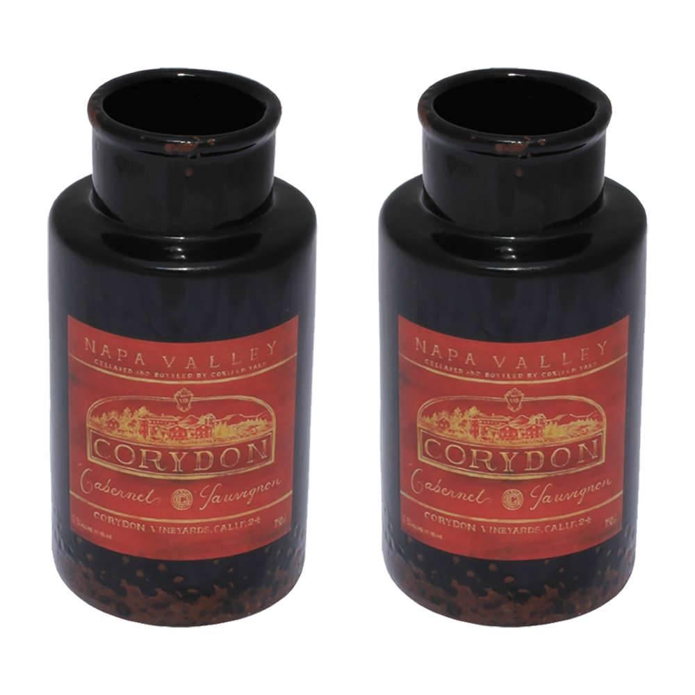 Conjunto 2 Vasos Kanpur Preto e Vermelho em Cerâmica - 16,5x8 cm