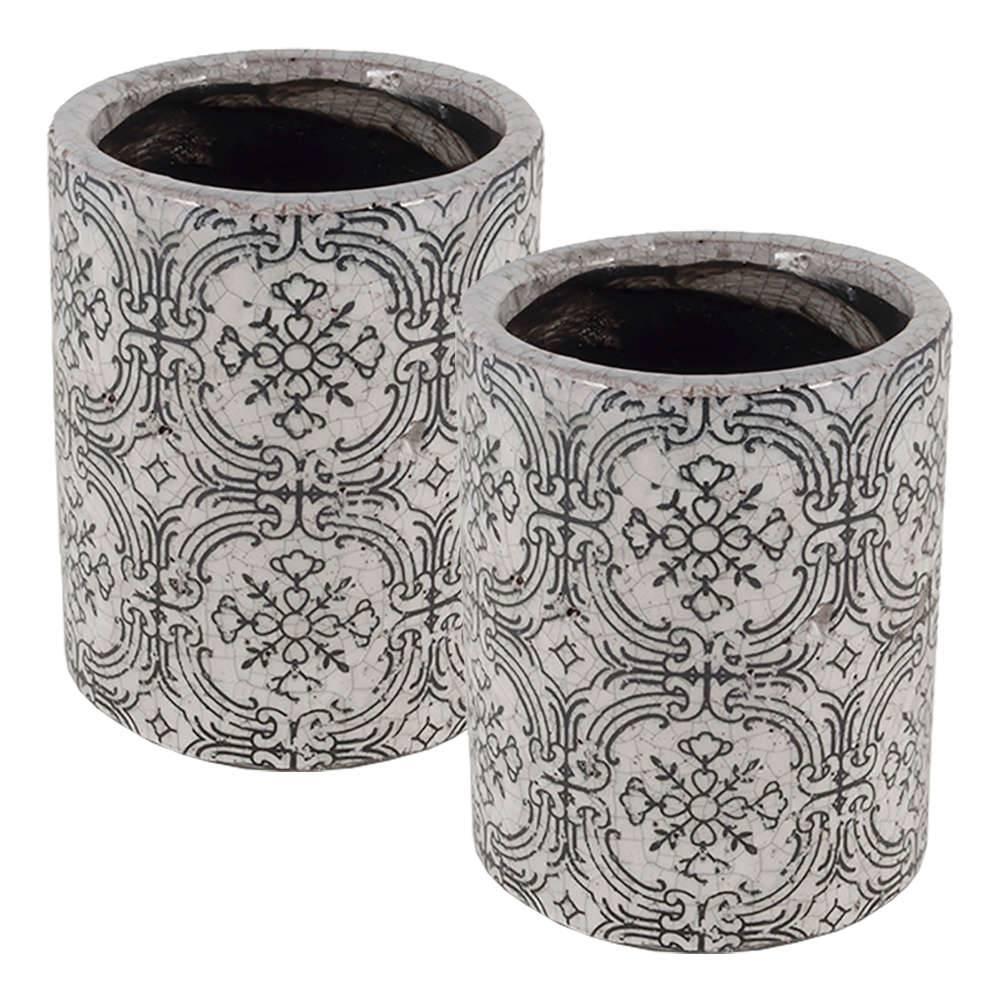 Conjunto 2 Vasos Old Portuguese Branco Envelhecido Médio em Cerâmica - 14,5x11,5 cm