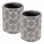 Conjunto 2 Vasos Old Portuguese Branco Médio em Cerâmica