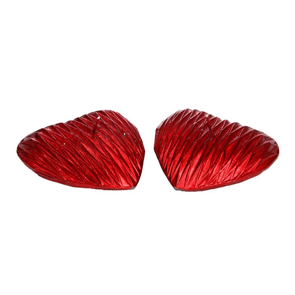 Conjunto com 2 Velas em Forma de Coração Vermelhas - 6,5 cm