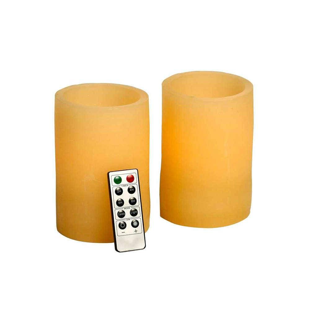 Conjunto 2 Velas de LED Pequenas com Controle Remoto - 14x4 cm