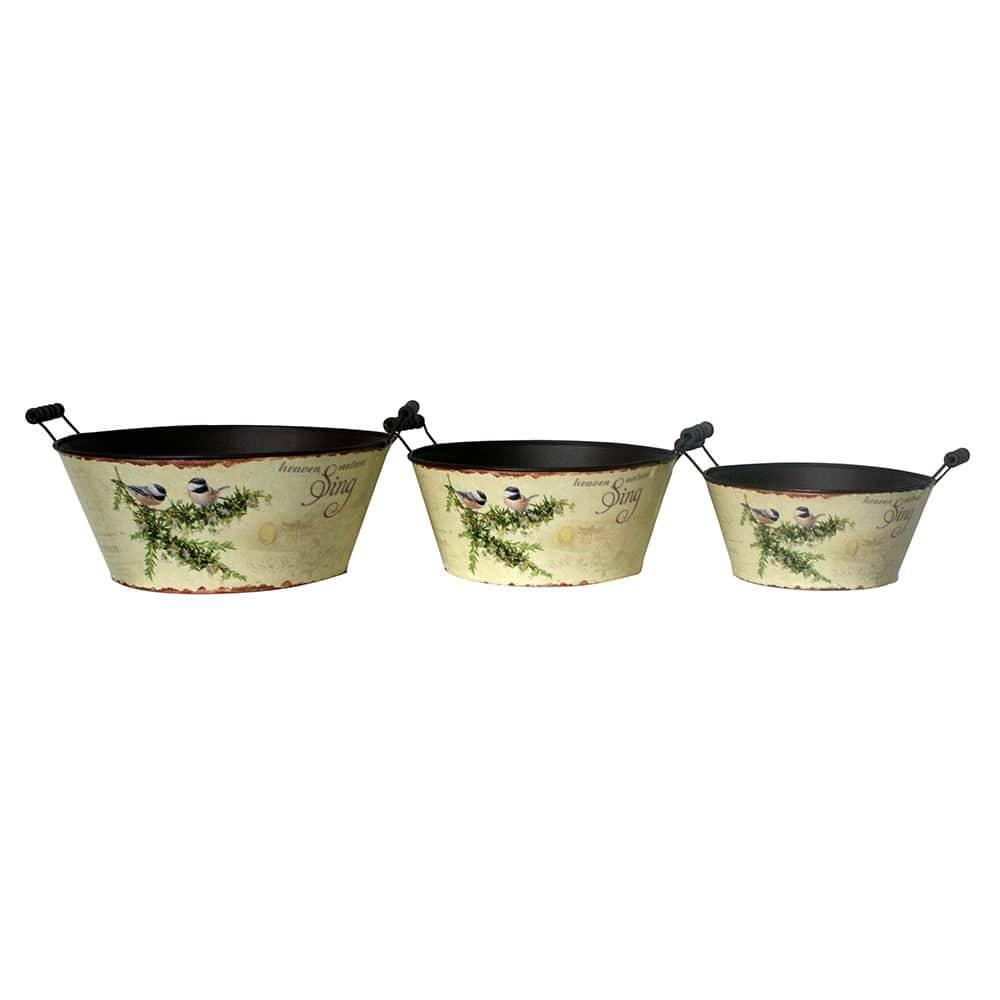 Conjunto 3 Bacias Pássaros em Zinco Greenway - 34x15 cm