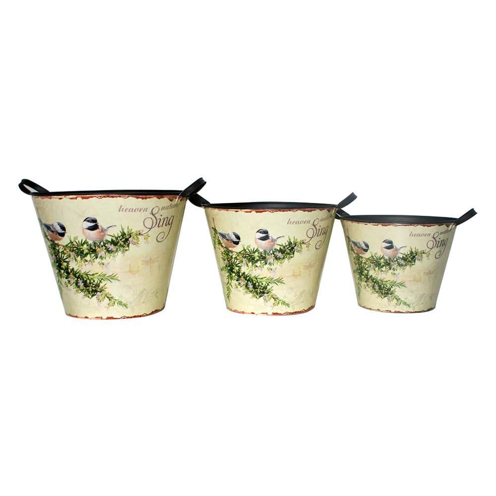 Conjunto 3 Baldes Pássaros em Zinco Greenway - 33x30 cm