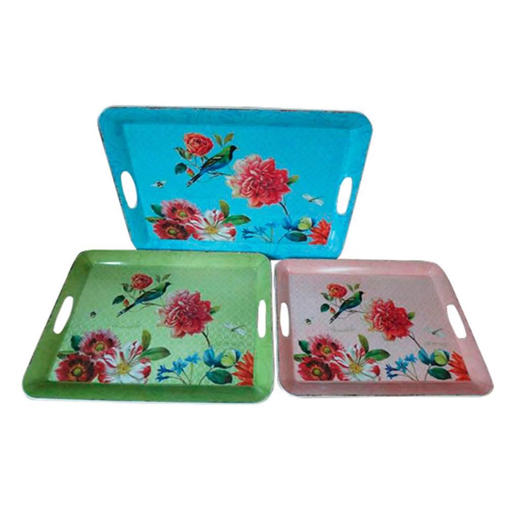 Conjunto 3 Bandejas com Alças Sweet Flowers em Polipropileno - Urban - 50x37 cm