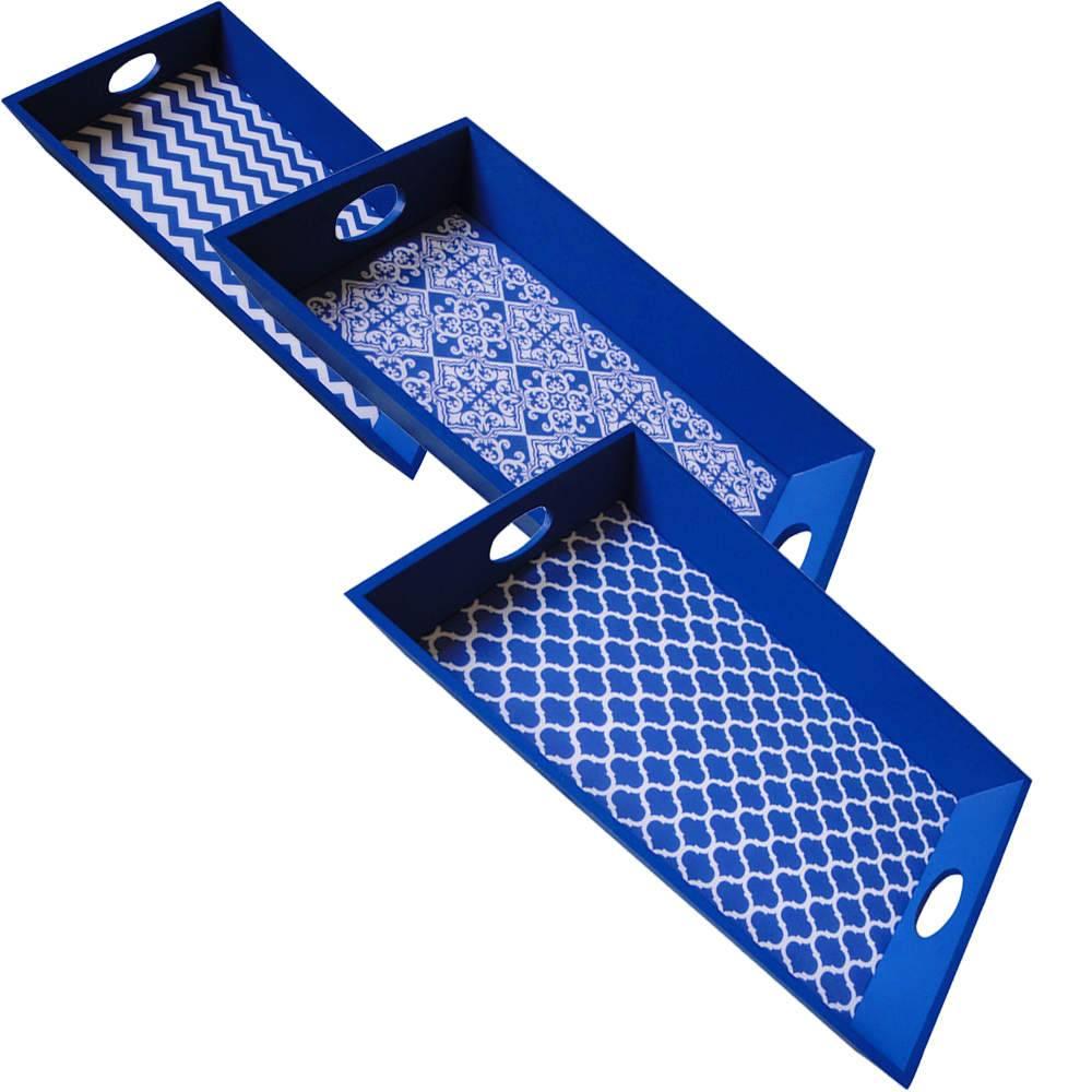 Conjunto 3 Bandejas Indigo Geometric Azul em Madeira - Urban - 48,5x33,5 cm