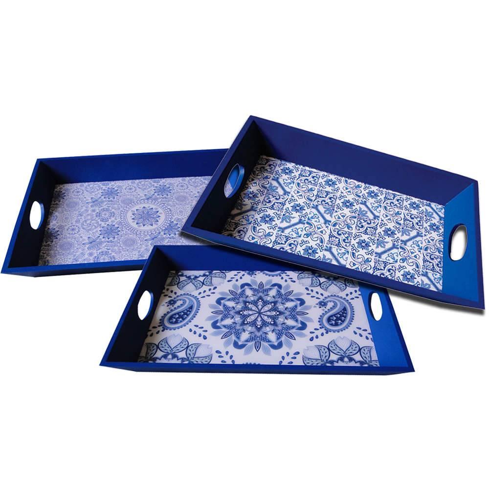 Conjunto 3 Bandejas Indigo Tiles Azul em Madeira - Urban - 48,5x33,5 cm