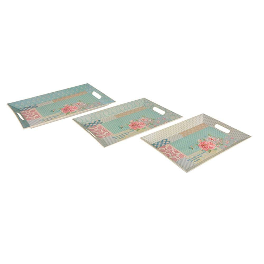 Conjunto 3 Bandejas Patch Flower em Polipropileno - Urban - 50,5x33,5 cm