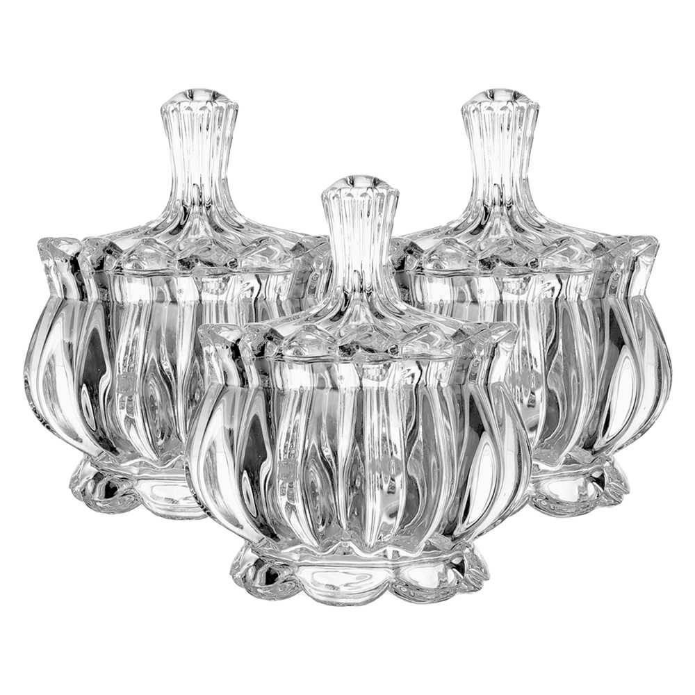 Conjunto 3 Bombonieres Larissa Transparente em Cristal Ecológico - L Hermitage - 11x9 cm