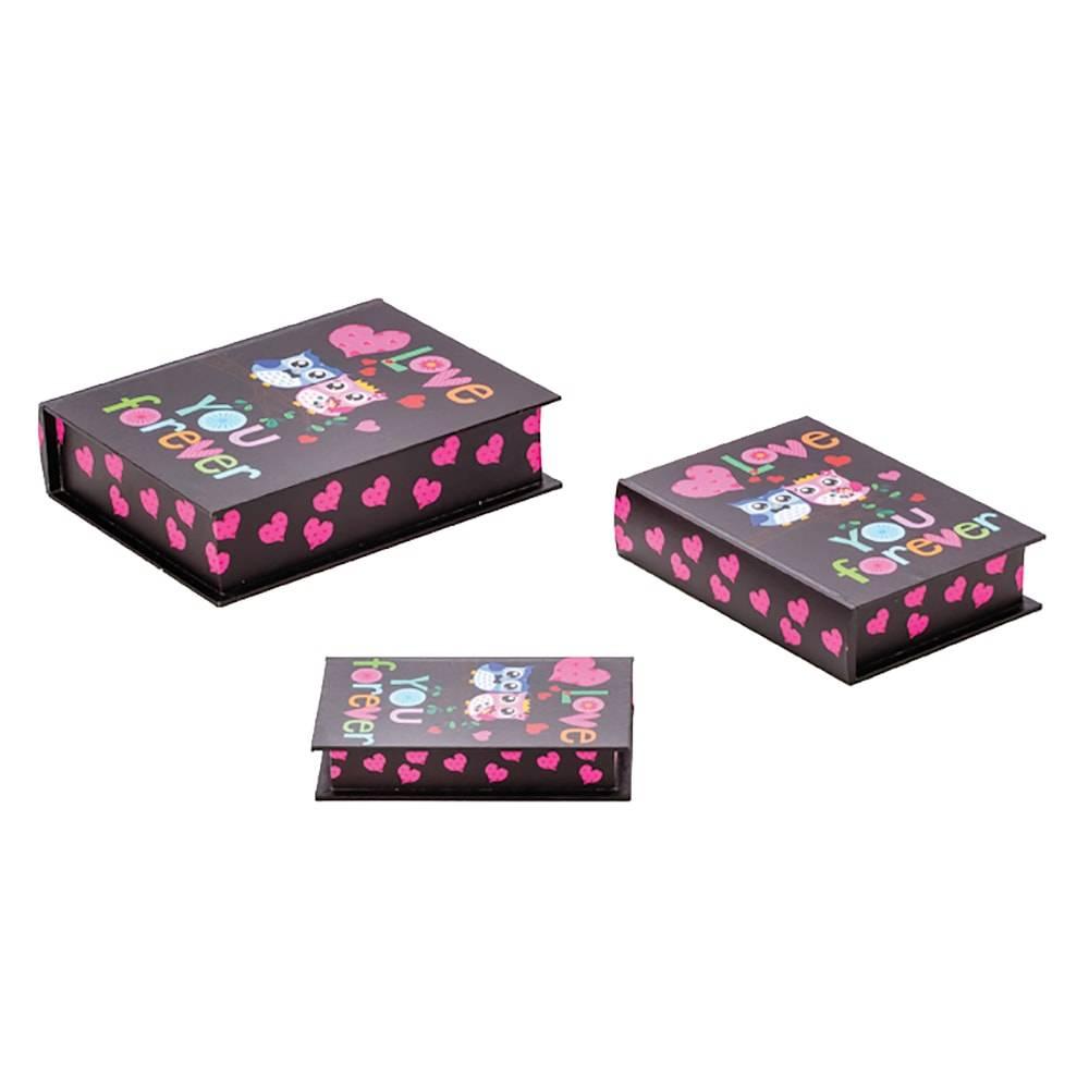 Conjunto 3 Book Boxes Corujas Namorados em MDF - Lyor Classic - 35x27 cm