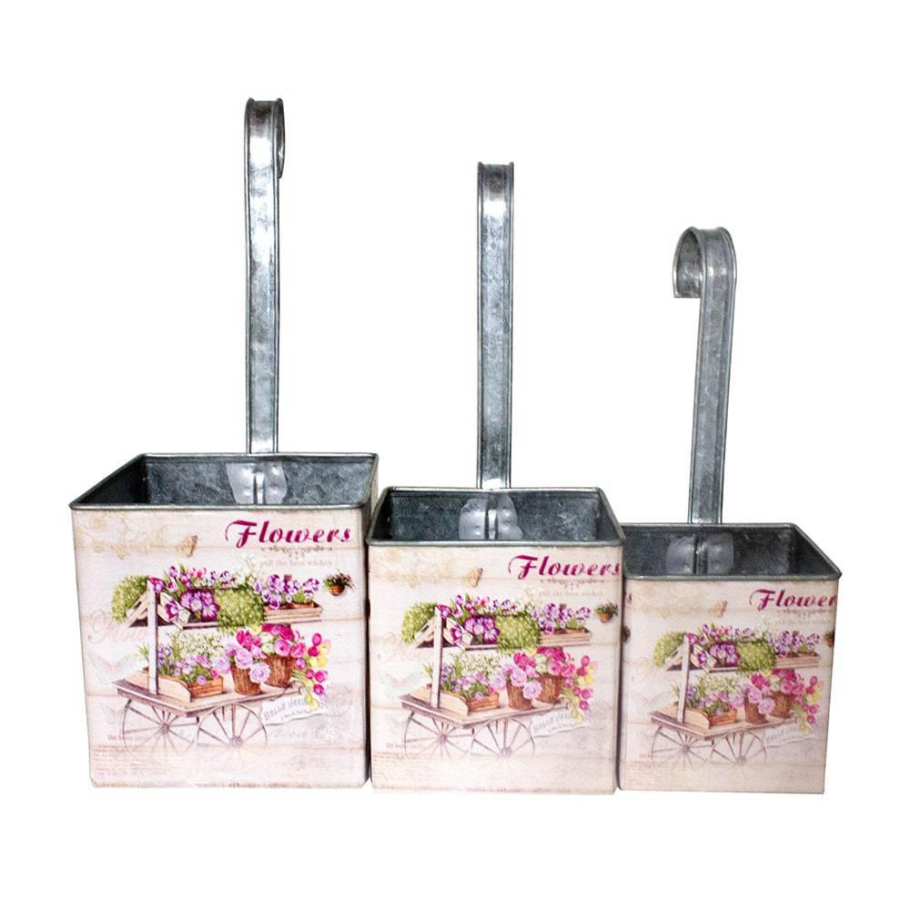 Conjunto 3 Cachepôs Flores para Pendurar em Zinco Greenway - 31x13 cm