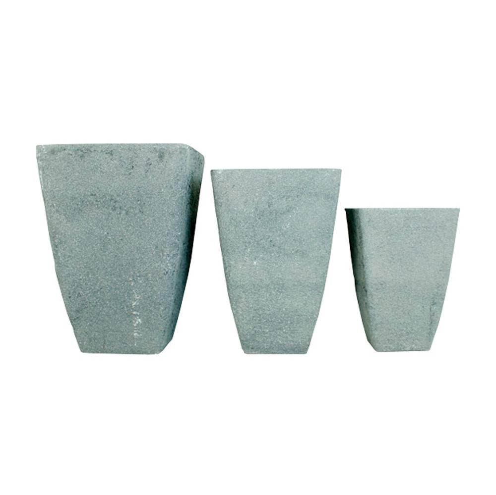 Conjunto 3 cachepôs em Plástico com Textura de Concreto Greenway - 68x48 cm