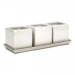 Conjunto 3 Cachepôs Quadrados Branco com Bandeja - 28x10 cm