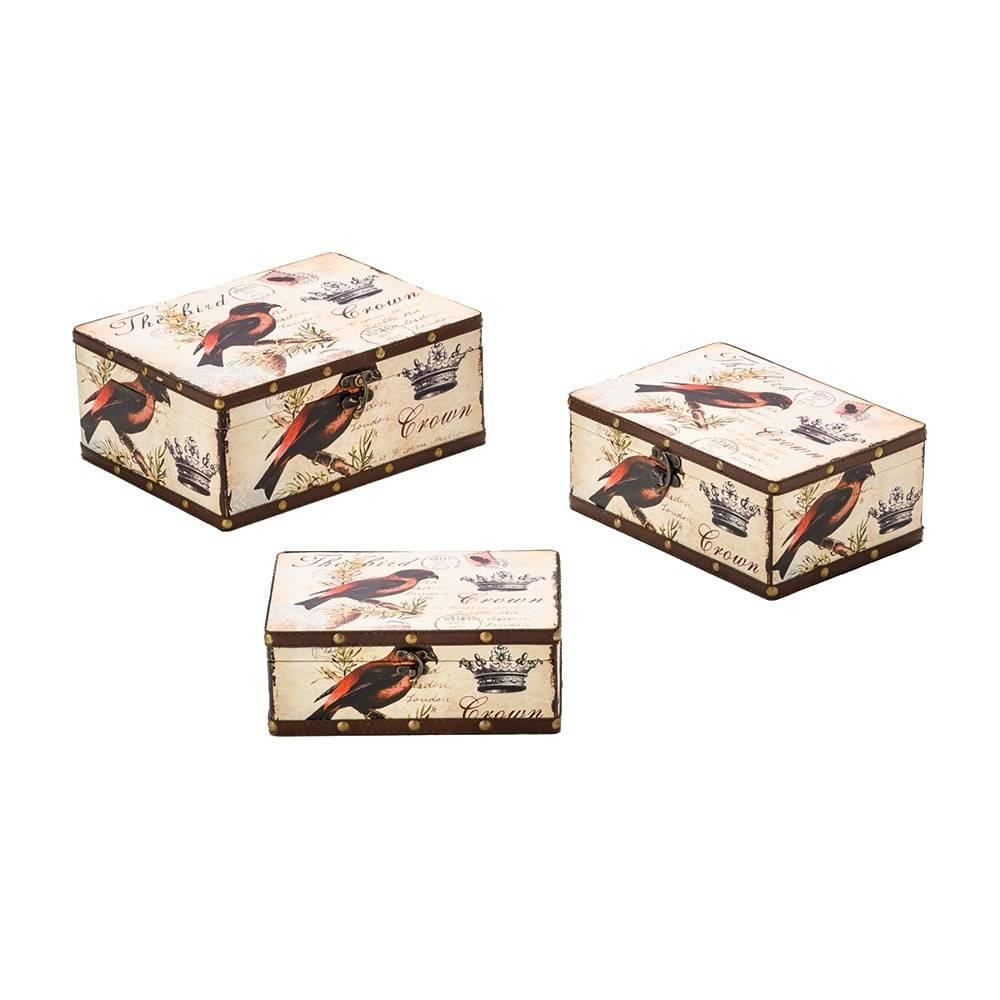 Conjunto 3 Caixas Birds em MDF - Lyor Classic - 33x25 cm