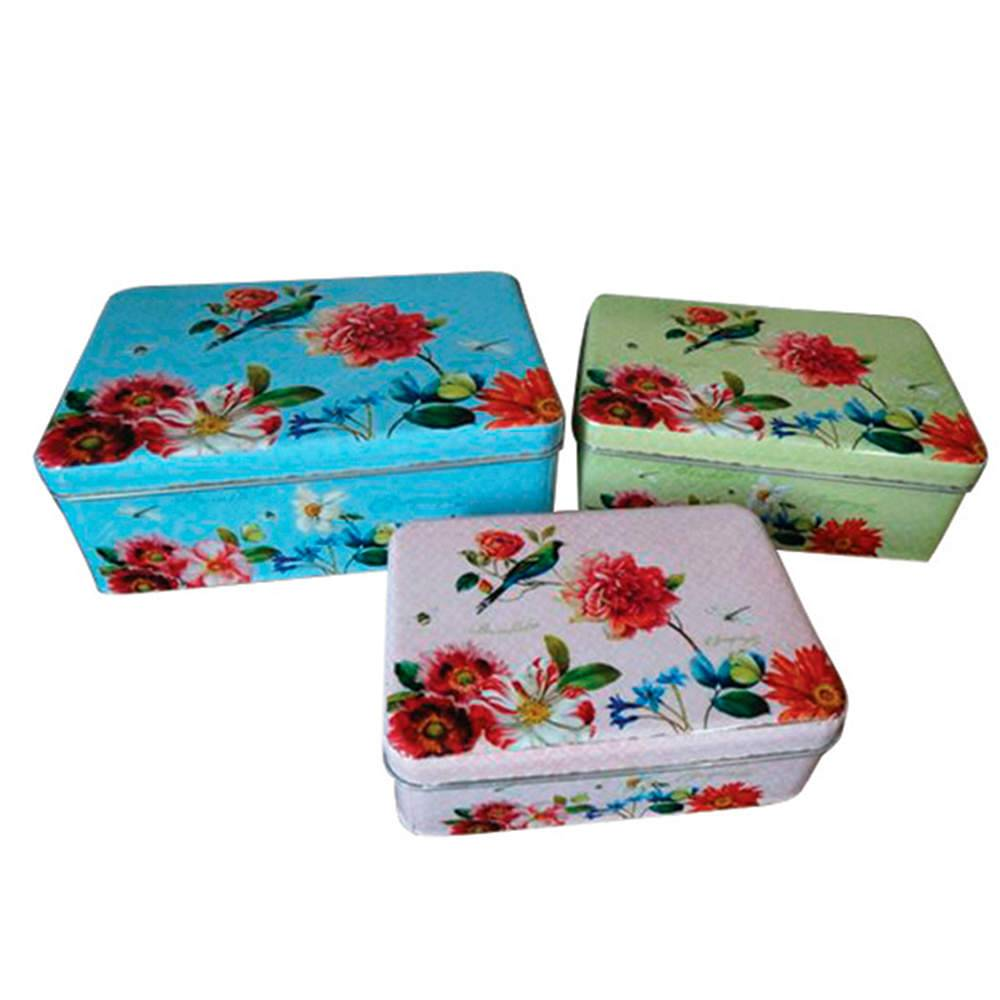 Conjunto 3 Caixas Sweet Flowers Retangulares em Metal - Urban - 21x14,5 cm