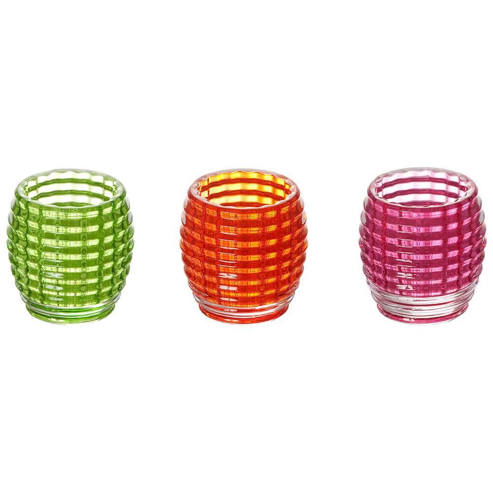 Conjunto 3 Castiçais Frizee Coloridos em Vidro - Urban - 7,5x6 cm