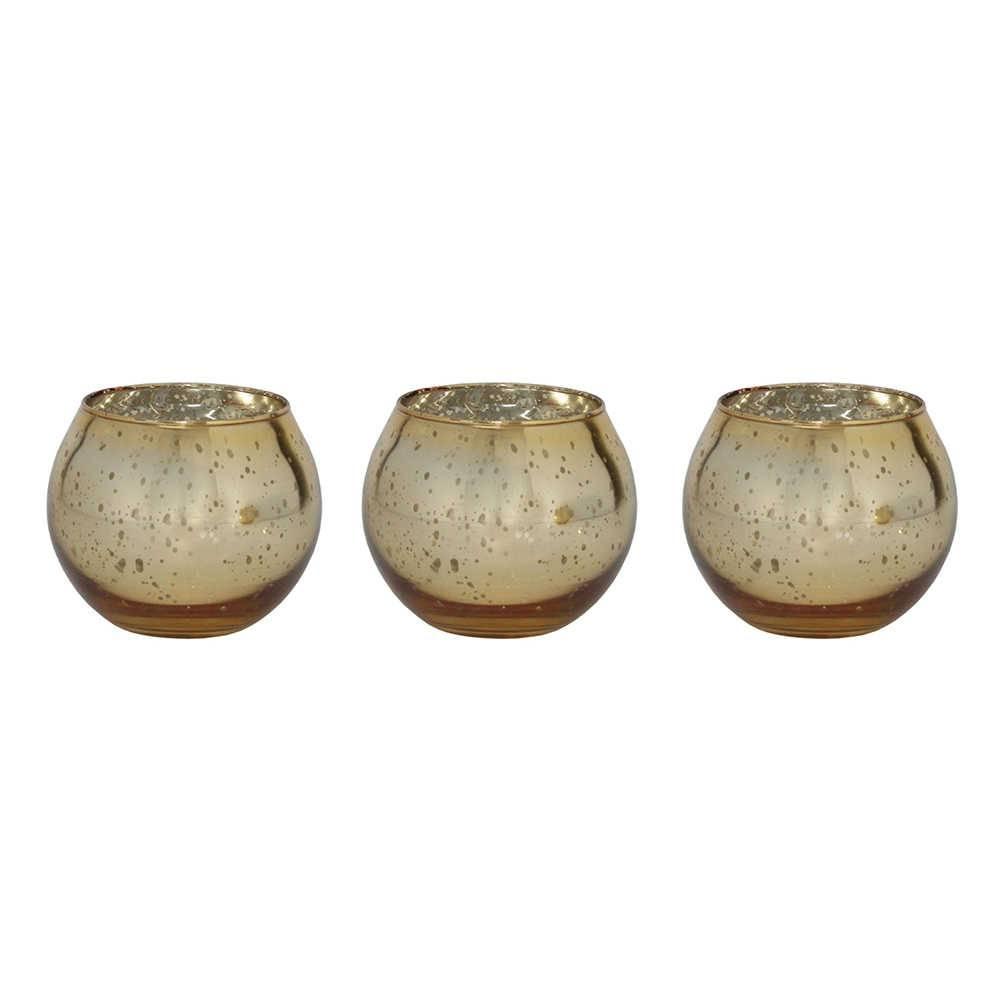 Conjunto 3 Castiçais Mini Bowl Dourado Grande em Vidro - 8x7,5 cm