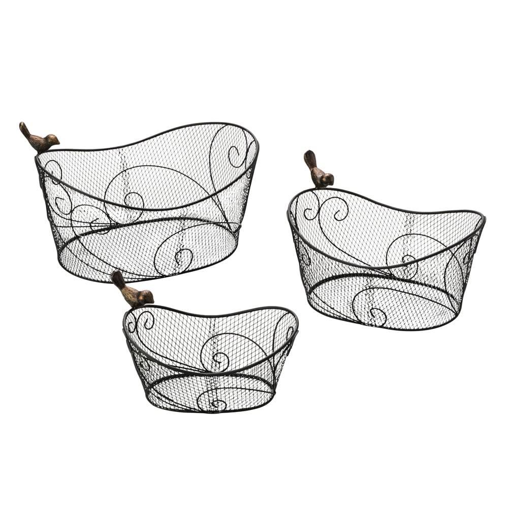 Conjunto 3 Cestas c/ Decoração de Pássaros em Ferro Esmaltado - Lyor Classic -30x22,8 cm