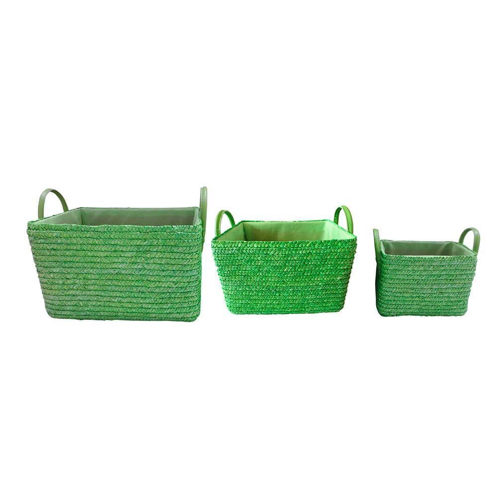 Conjunto 3 Cestas Verdes em Palha com Alça - Urban - 30x20 cm