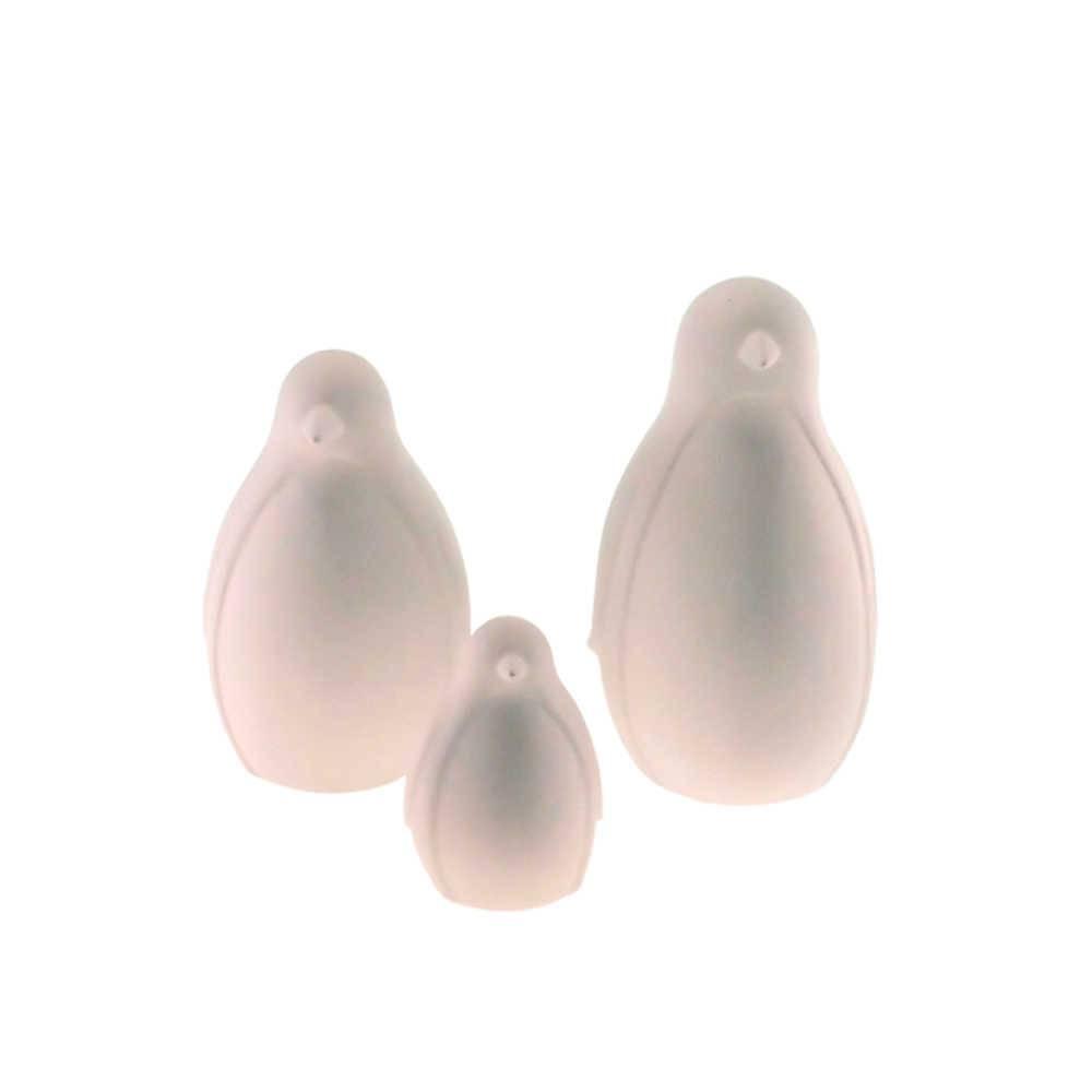 Conjunto 3 Estatuetas Pinguins Brancos em Cerâmica - 19x10 cm