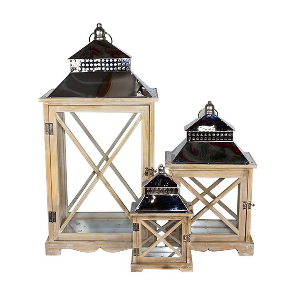 Conjunto 3 Lanternas em Madeira e Inox Oldway - 67x33 cm