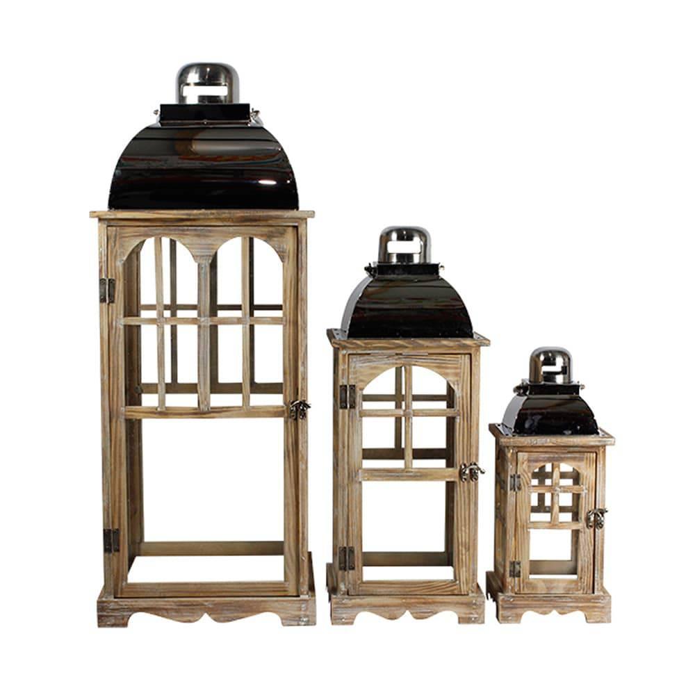 Conjunto 3 Lanternas em Madeira e Inox Oldway - 80x31 cm