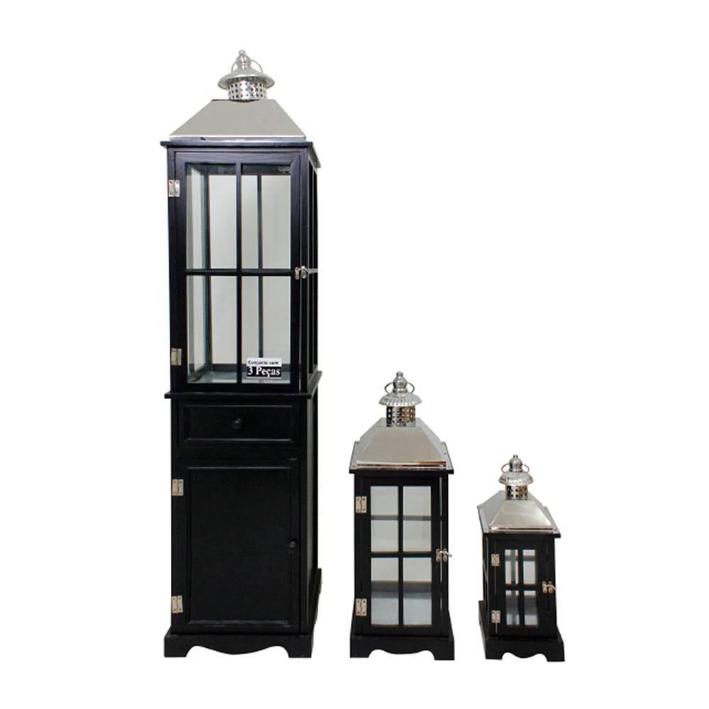 Conjunto 3 Lanternas Preto e Prata em Madeira e Inox Oldway - 134x31 cm