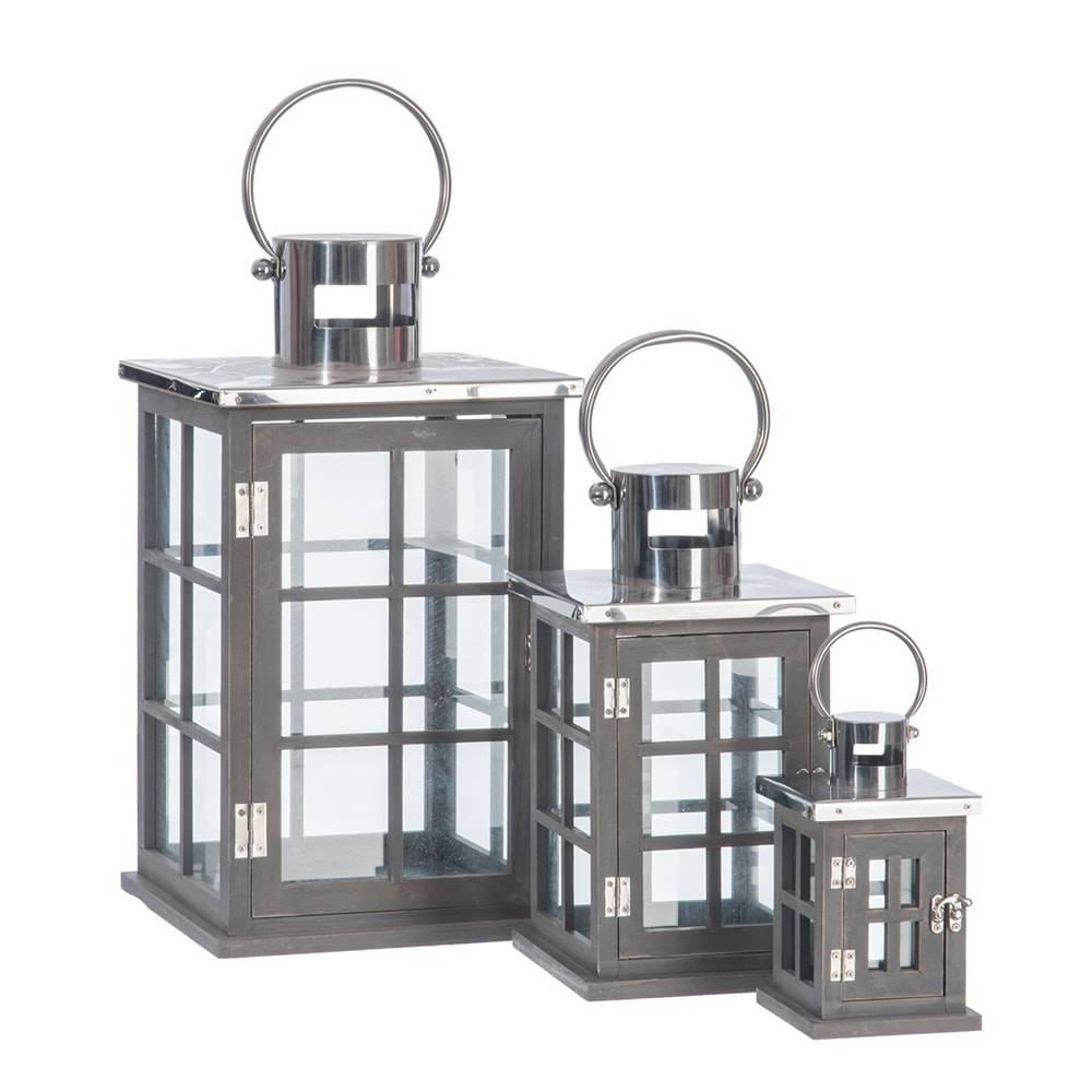 Conjunto 3 Lanternas Quadradas Cinzas em Madeira e Metal - 45x25 cm