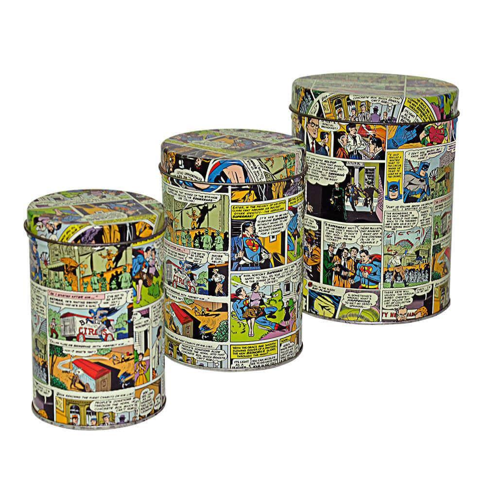 Conjunto 3 Latas DC Comics Quadrinhos Colorido em Metal - Urban - 14,5x10,5 cm