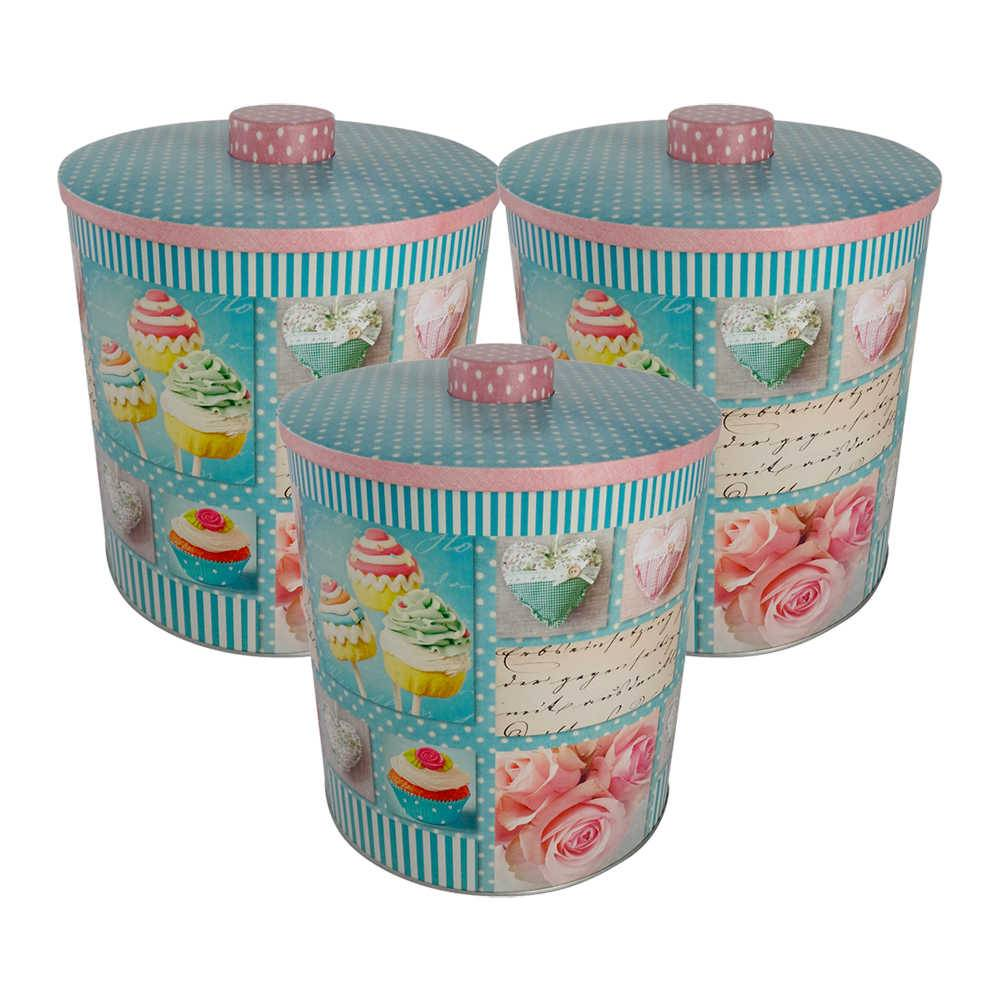 Conjunto 3 Latas Redondas com Estampa Cupcake em Metal - Dynasty - 20x17 cm