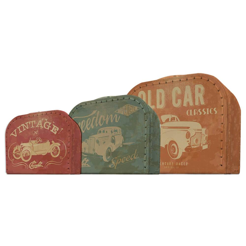 Conjunto 3 Maletas GM Vintage Cars And Colors - Urban - 30x21 cm