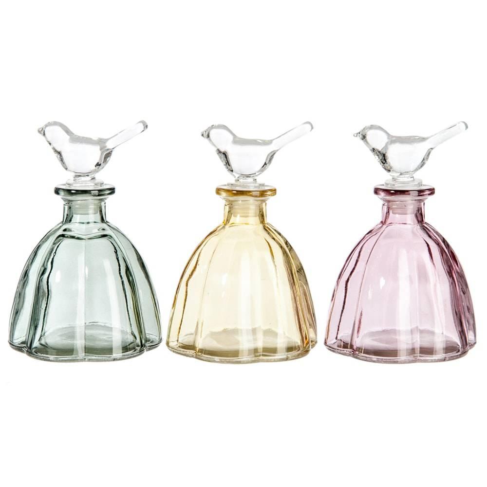 Conjunto 3 Perfumeiros Birds em Vidro Colorido - 15x10 cm