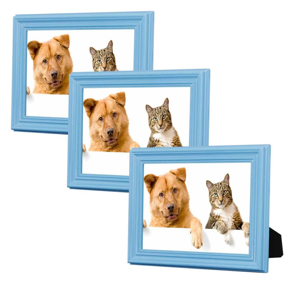Conjunto 3 Porta-Retratos Azuis - 10x15 cm - em Madeira Laqueada - 18x13 cm