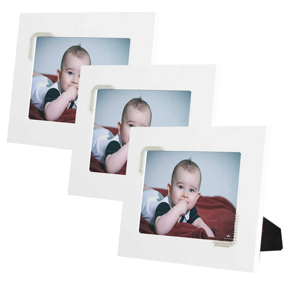 Conjunto 3 Porta-Retratos Brancos - 10x15 cm - em MDF com Pérolas - 23x18 cm