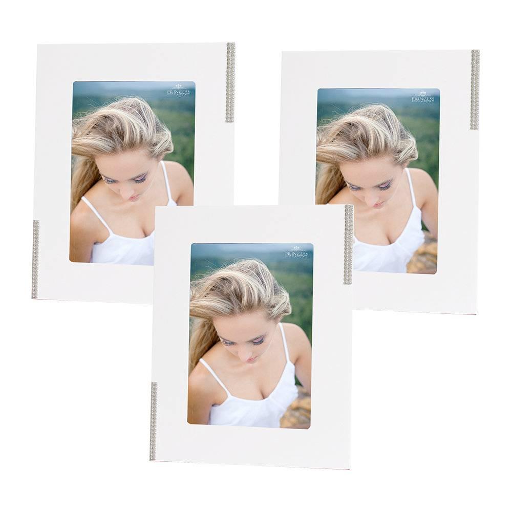 Conjunto 3 Porta-Retratos Brancos com Pérolas Laterais - 10x15 cm - em MDF - 23x18 cm