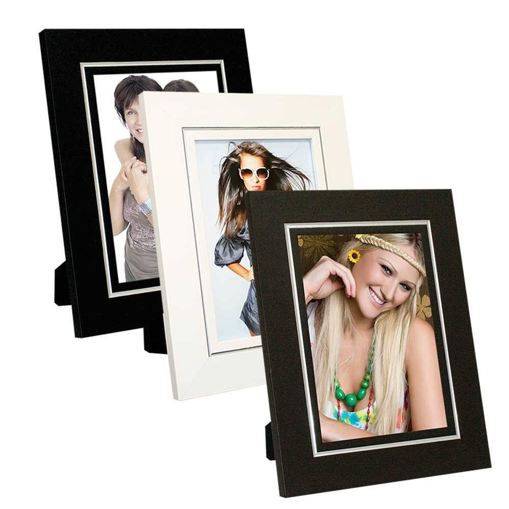 Conjunto 3 Porta-Retratos Clean com Friso Prata - 10x15 - em Madeira - 19x14 cm