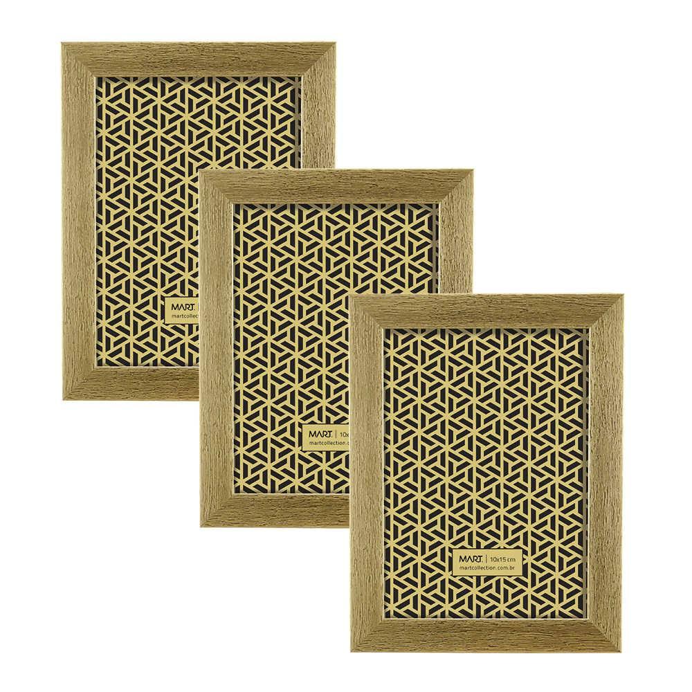 Conjunto 3 Porta-Retratos Dourados - Foto 10x15 cm - Efeito Escovado - 18x13 cm
