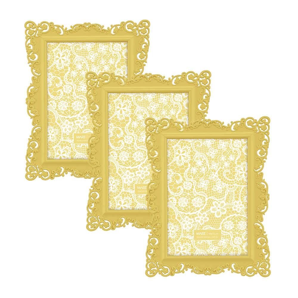 Conjunto 3 Porta-Retratos Lacce - Foto 10x15 cm - Amarelo