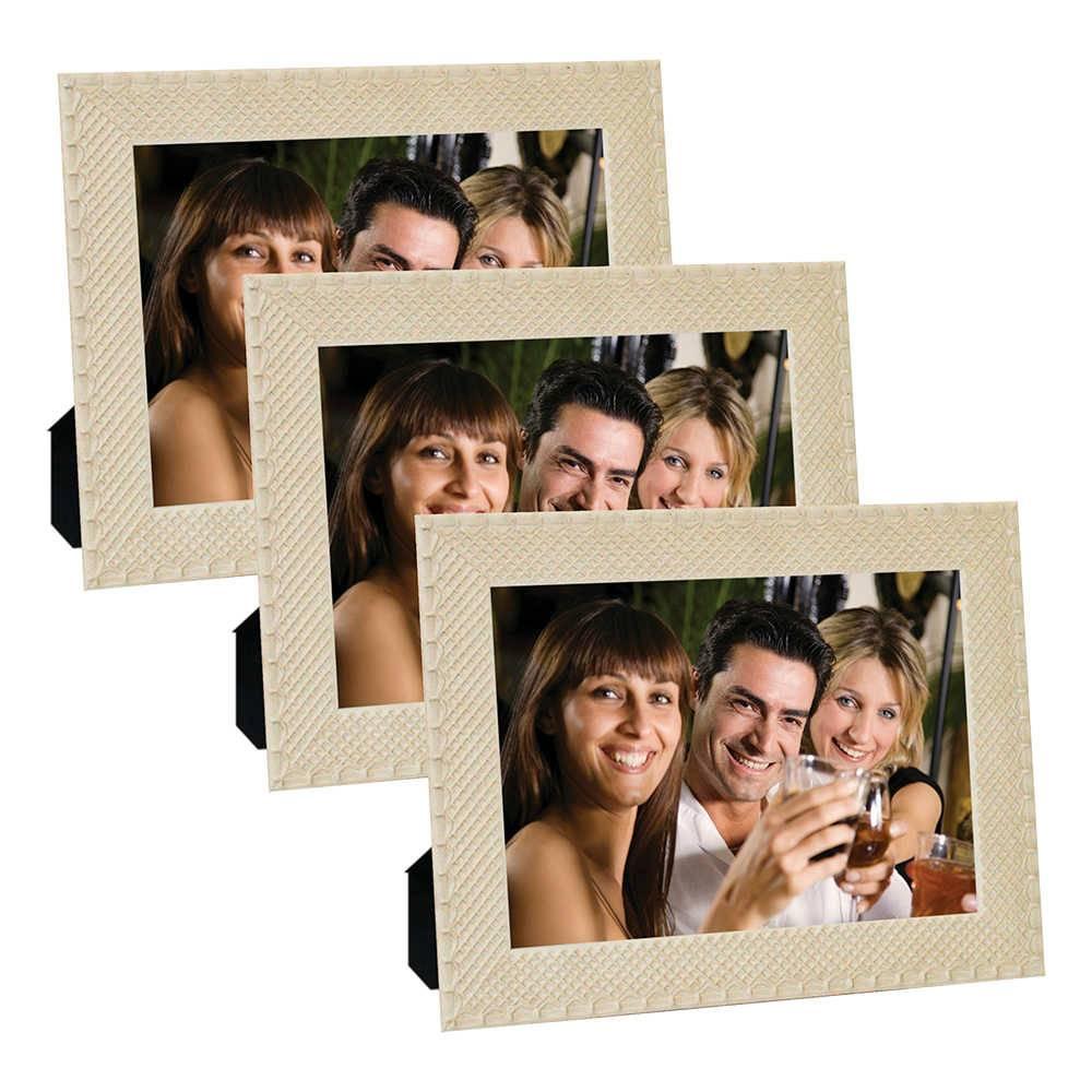 Conjunto 3 Porta-Retratos Moldura Treliça Bege - Foto 13x18 cm - Em MDF e Vidro - 21x16 cm