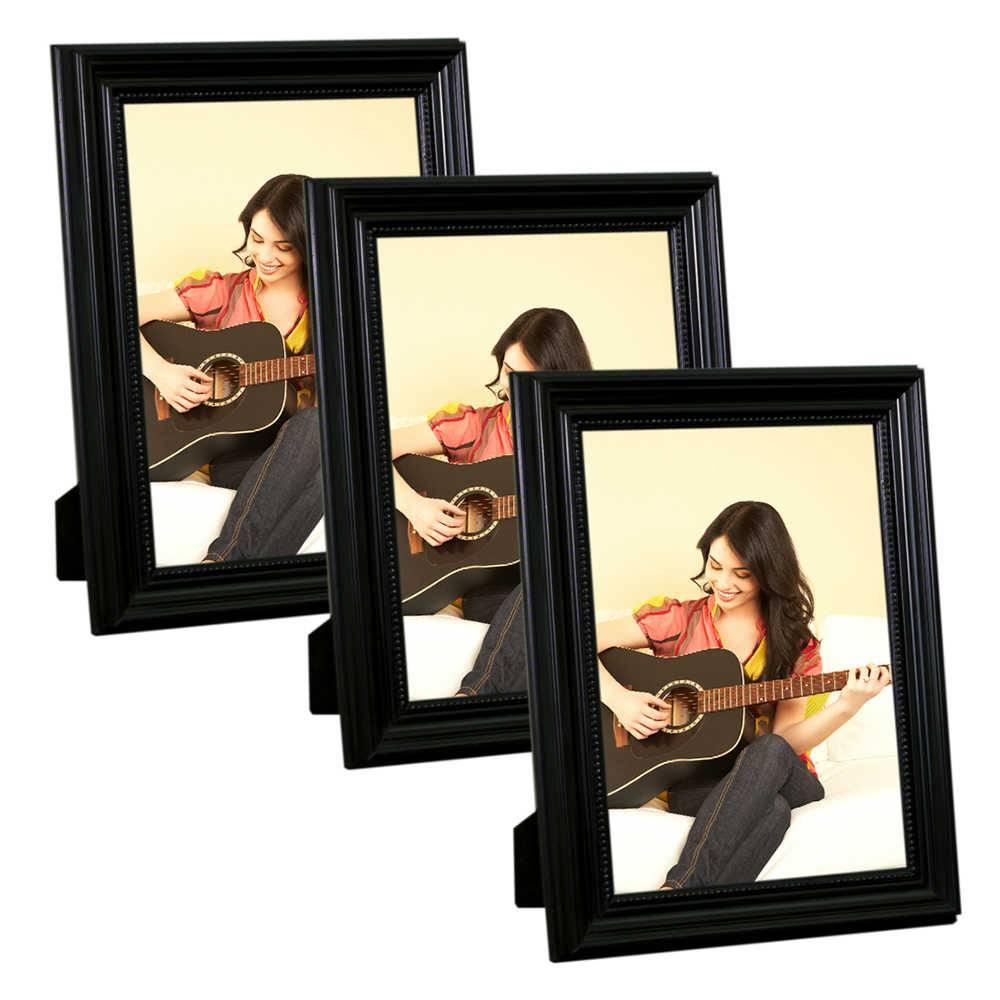 Conjunto 3 Porta-Retratos Pretos - 10x15 cm - em Madeira Laqueada - 18x13 cm